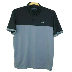 Nike Golf Mens Shirt Short Sleeve Embroidered Gray